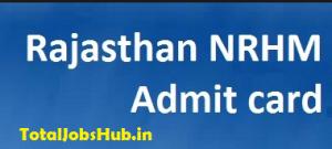 NRHM Rajasthan Admit Card