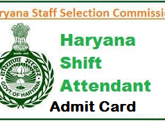 HSSC Shift Attendant Admit Card