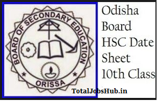 odisha- hsc time table