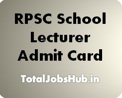 RPSC School Lecturer Admit Card 2017 Grade I Teacher Exam Date