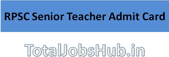 rpsc-senior-teacher-admit-card