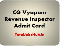 CG Vyapam Revenue Inspector Admit Card