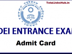 dei entrance exam admit card