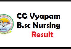 cg vyapam b.sc nursing result