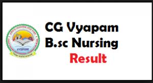 cg vyapam bsc nursing result