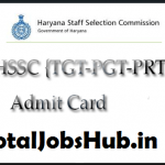 hssc pgt admit card