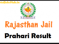 Rajasthan Jail Prahari Results