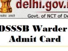 dsssb warder admit card