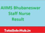 aiims bhubaneswar staff nurse result
