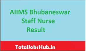 aiims bhubaneswar staff nurse result