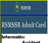 RSMSSB Informatics Assistant Admit Card