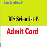 bis scientist b admit card