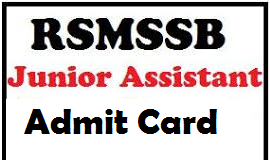 RSMSSB Junior Assistant Admit Card