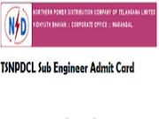 TSNPDCL Sub Engineer Admit Card