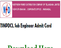 TSNPDCL Sub Engineer Admit Card
