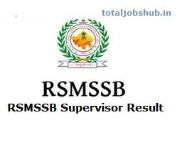 RSMSSB Supervisor Result
