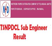 TSNPDCL Sub Engineer Result