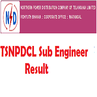 TSNPDCL Sub Engineer Result