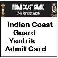 indian coast guard yantrik admit card