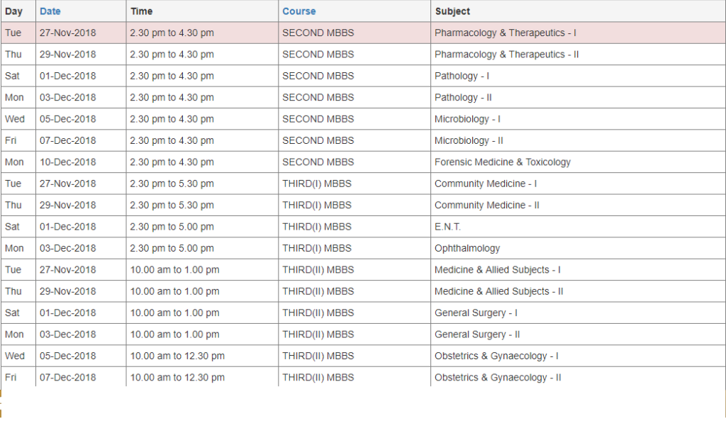 muhs winter time table