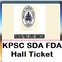 KPSC SDA FDA Hall Ticket