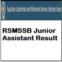RSMSSB Junior Assistant Result
