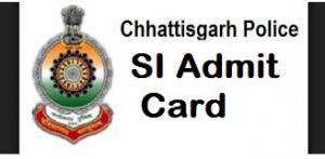 cg police si admit card