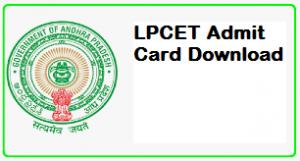 LPCET Admit Card