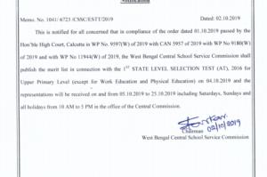 WBSSC Assistant Teacher Result 2019 WB SLST Merit List Cutoff