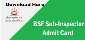bsf sub inspector admit card