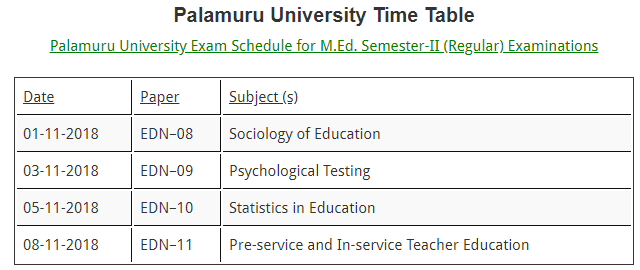 pu degree time table