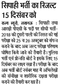 up police constable written exam result